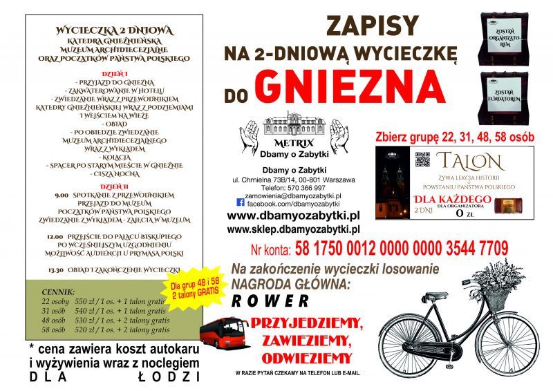 Wycieczka 2 dniowa do Gniezna – dla Łodzi