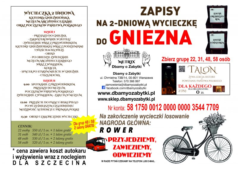 Wycieczka 2 dniowa do Gniezna – dla Szczecina