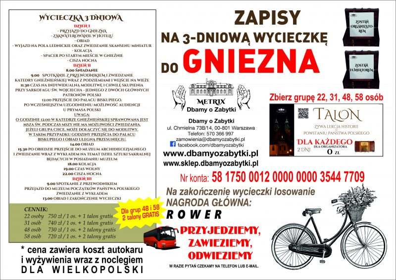 Wycieczka 3 dniowa do Gniezna – dla Wielkopolski